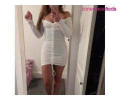 @@#White Off The Shoulder Drawstring Ribbed Dress#@@