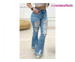 #BRE DISTRESSED BELL-BOTTOM JEANS#