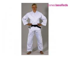 A single weave, medium weight, bleached white Judo uniform of exceptional quality and value.
